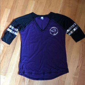 Zumba Baseball V-Neck Purple & Black L